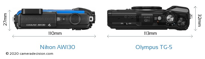 Nikon AW130 vs Olympus TG-5 Camera Size Comparison - Top View