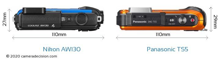 Nikon AW130 vs Panasonic TS5 Camera Size Comparison - Top View
