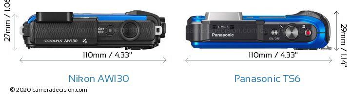 Nikon AW130 vs Panasonic TS6 Camera Size Comparison - Top View