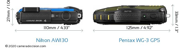 Nikon AW130 vs Pentax WG-3 GPS Camera Size Comparison - Top View