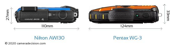 Nikon AW130 vs Pentax WG-3 Camera Size Comparison - Top View