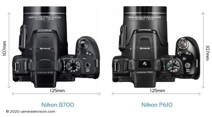 Nikon B700 vs Nikon P610 Camera Size Comparison - Top View