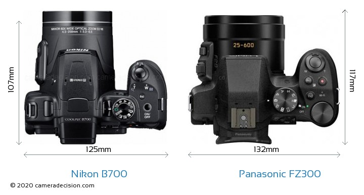 Nikon B700 vs Panasonic FZ300 Camera Size Comparison - Top View