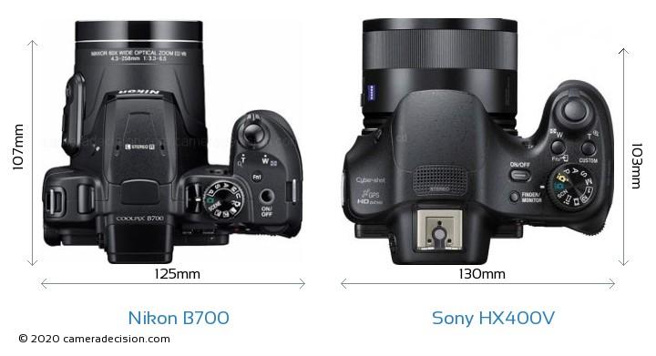 Nikon B700 vs Sony HX400V Camera Size Comparison - Top View