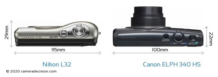 Nikon L32 vs Canon ELPH 340 HS Camera Size Comparison - Top View