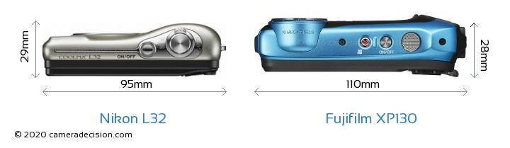 Nikon L32 vs Fujifilm XP130 Camera Size Comparison - Top View