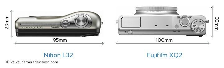 Nikon L32 vs Fujifilm XQ2 Camera Size Comparison - Top View