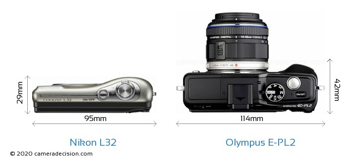 Nikon L32 vs Olympus E-PL2 Camera Size Comparison - Top View