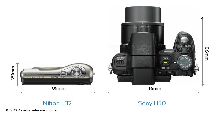 Nikon L32 vs Sony H50 Camera Size Comparison - Top View