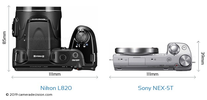 Nikon L820 vs Sony NEX-5T Camera Size Comparison - Top View