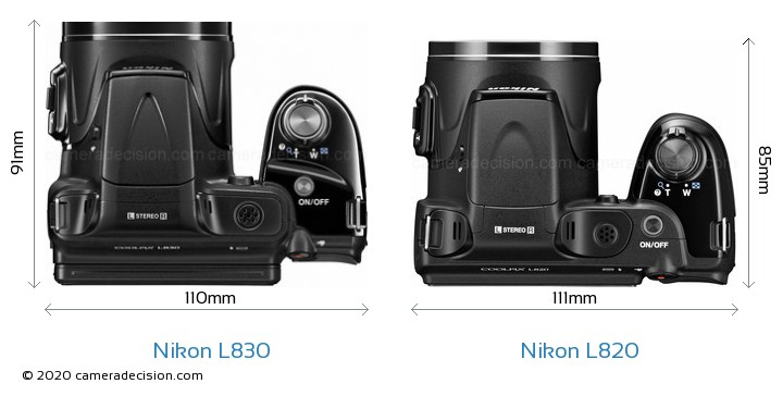 Nikon L830 vs Nikon L820 Camera Size Comparison - Top View