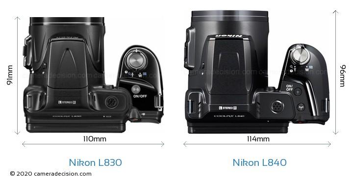 Nikon L830 vs Nikon L840 Camera Size Comparison - Top View