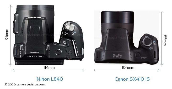 Nikon L840 vs Canon SX410 IS Camera Size Comparison - Top View