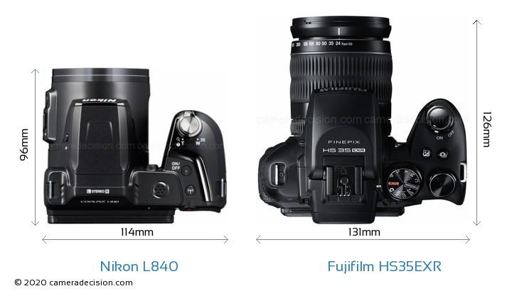Nikon L840 vs Fujifilm HS35EXR Camera Size Comparison - Top View