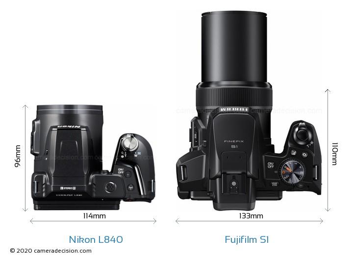 Nikon L840 vs Fujifilm S1 Camera Size Comparison - Top View