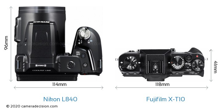 Nikon L840 vs Fujifilm X-T10 Camera Size Comparison - Top View