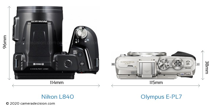 Nikon L840 vs Olympus E-PL7 Camera Size Comparison - Top View