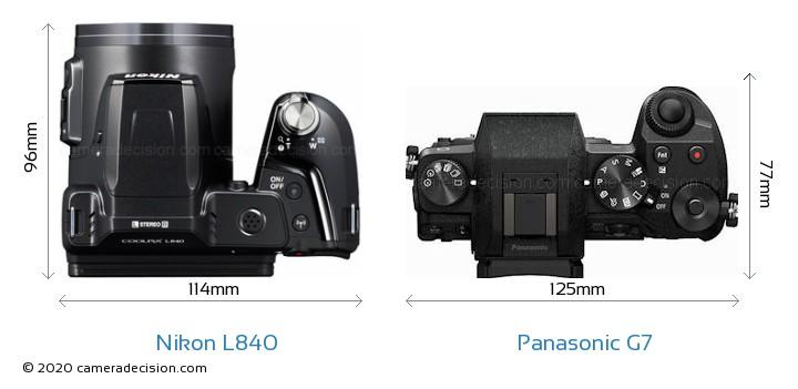 Nikon L840 vs Panasonic G7 Camera Size Comparison - Top View