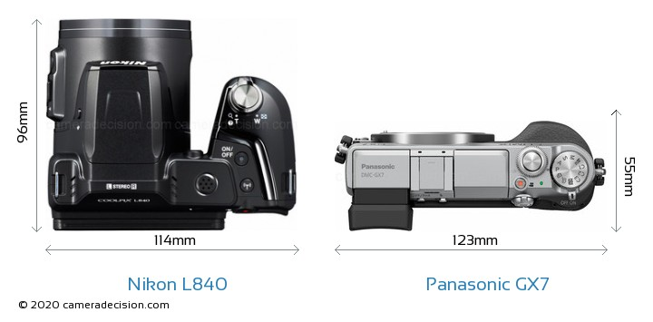 Nikon L840 vs Panasonic GX7 Camera Size Comparison - Top View