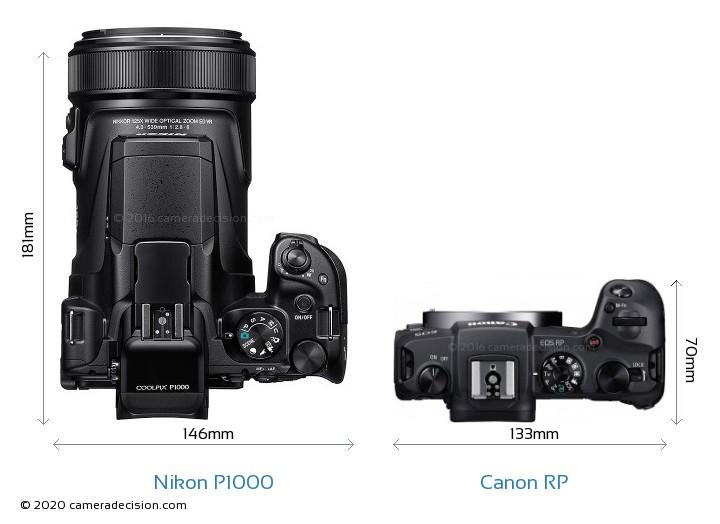 Nikon P1000 vs Canon RP Camera Size Comparison - Top View