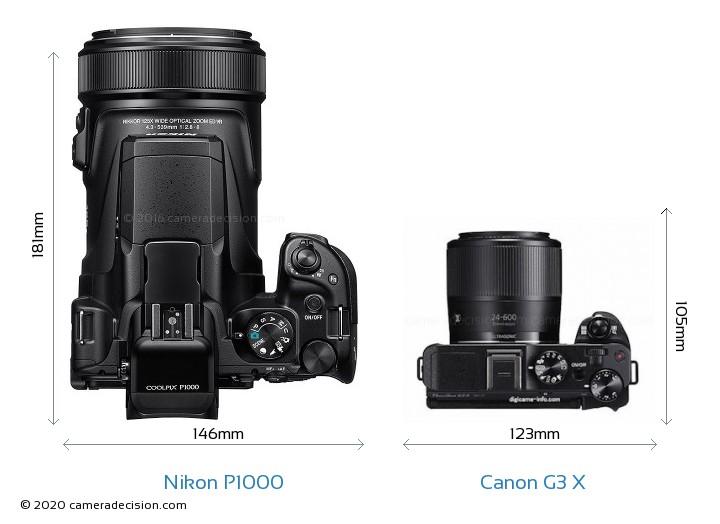 Nikon P1000 vs Canon G3 X Camera Size Comparison - Top View