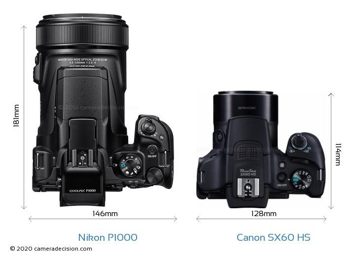 Nikon P1000 vs Canon SX60 HS Camera Size Comparison - Top View
