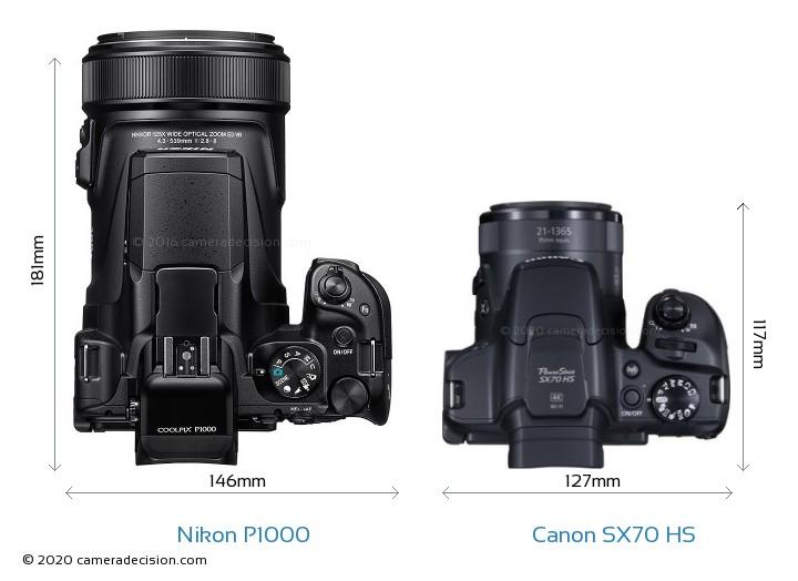 Nikon P1000 vs Canon SX70 HS Camera Size Comparison - Top View