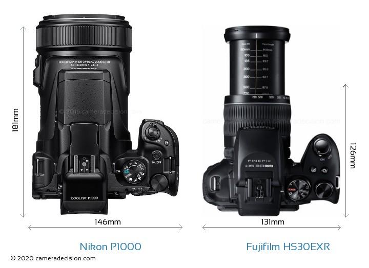 Nikon P1000 vs Fujifilm HS30EXR Camera Size Comparison - Top View