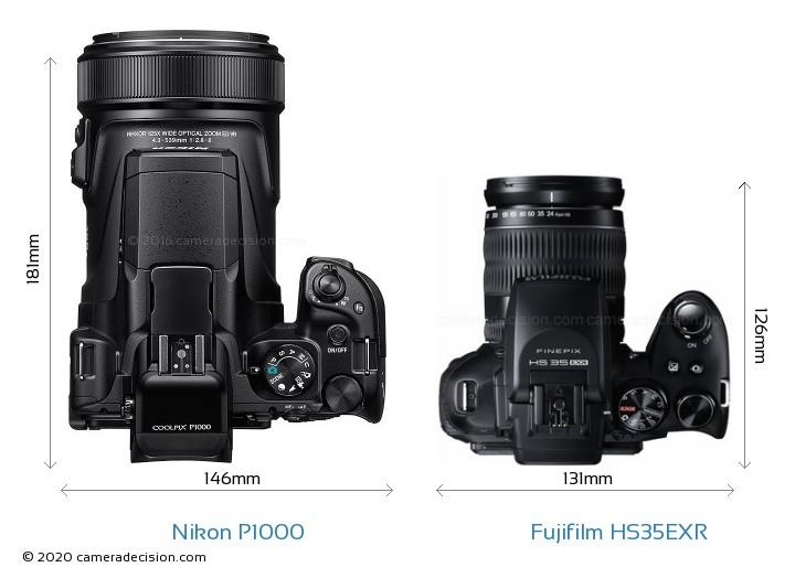 Nikon P1000 vs Fujifilm HS35EXR Camera Size Comparison - Top View