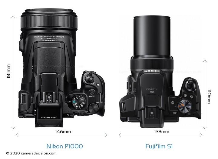 Nikon P1000 vs Fujifilm S1 Camera Size Comparison - Top View