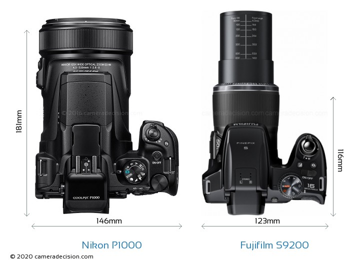 Nikon P1000 vs Fujifilm S9200 Camera Size Comparison - Top View