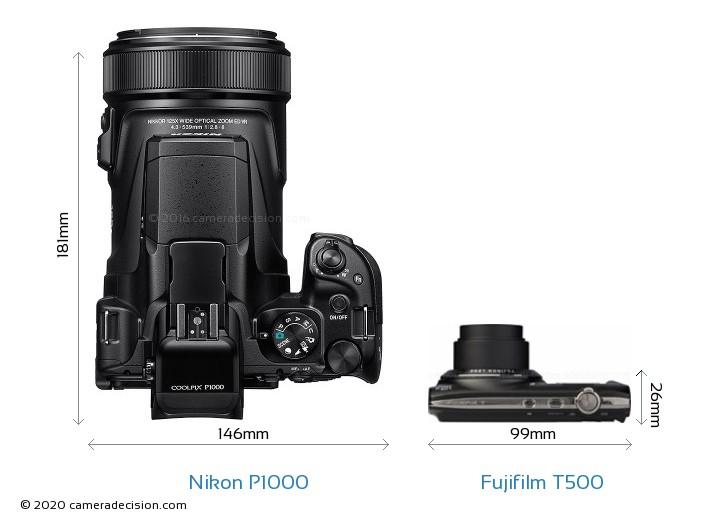 Nikon P1000 vs Fujifilm T500 Camera Size Comparison - Top View