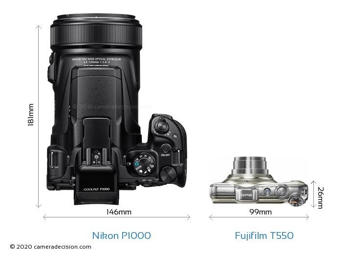 Nikon P1000 vs Fujifilm T550 Camera Size Comparison - Top View