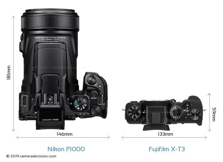 Nikon P1000 vs Fujifilm X-T3 Camera Size Comparison - Top View