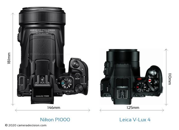 Nikon P1000 vs Leica V-Lux 4 Camera Size Comparison - Top View