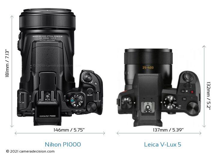 Nikon P1000 vs Leica V-Lux 5 Camera Size Comparison - Top View