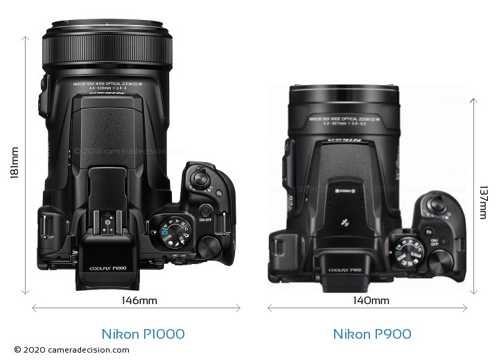 Nikon P1000 vs Nikon P900 Camera Size Comparison - Top View