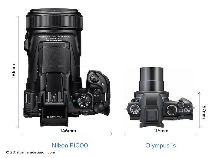 Nikon P1000 vs Olympus 1s Camera Size Comparison - Top View