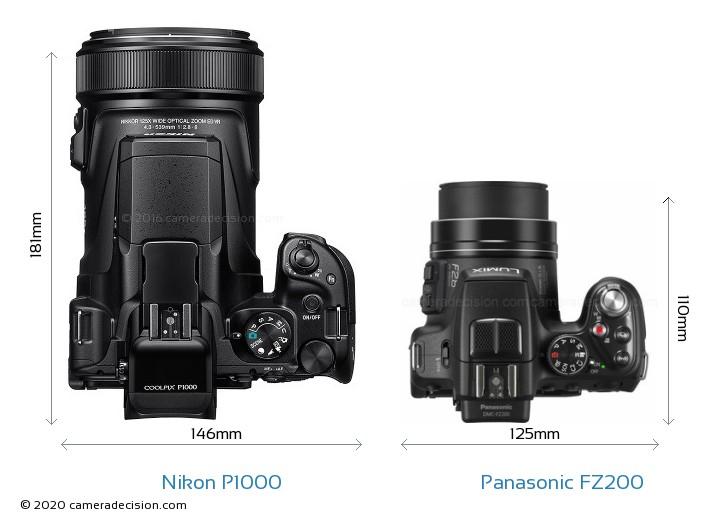 Nikon P1000 vs Panasonic FZ200 Camera Size Comparison - Top View