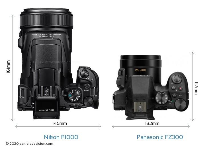 Nikon P1000 vs Panasonic FZ300 Camera Size Comparison - Top View