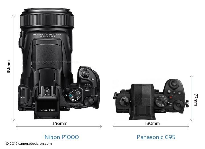 Nikon P1000 vs Panasonic G95 Camera Size Comparison - Top View