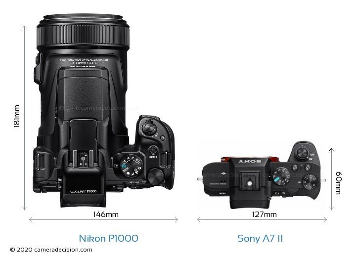 Nikon P1000 vs Sony A7 II Camera Size Comparison - Top View