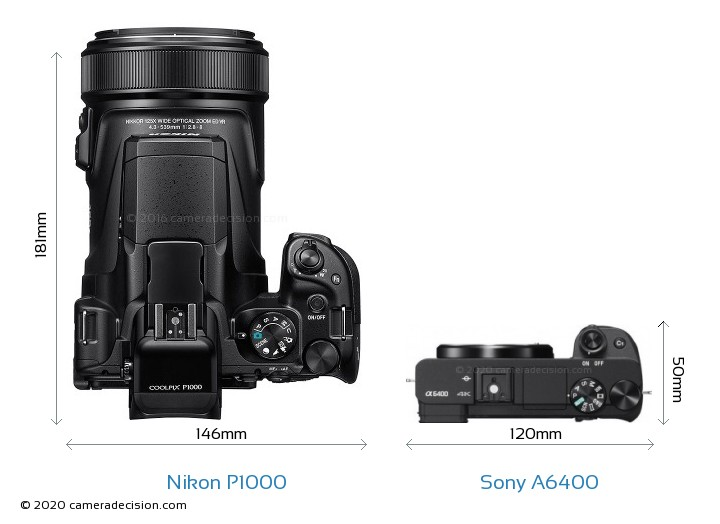 Nikon P1000 vs Sony A6400 Camera Size Comparison - Top View