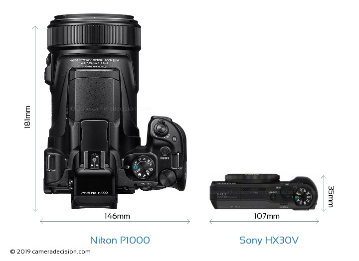 Nikon P1000 vs Sony HX30V Camera Size Comparison - Top View