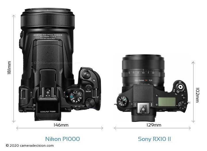 Nikon P1000 vs Sony RX10 II Camera Size Comparison - Top View