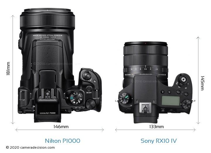 Nikon P1000 vs Sony RX10 IV Camera Size Comparison - Top View