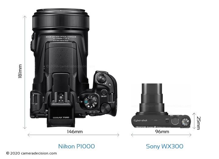 Nikon P1000 vs Sony WX300 Camera Size Comparison - Top View