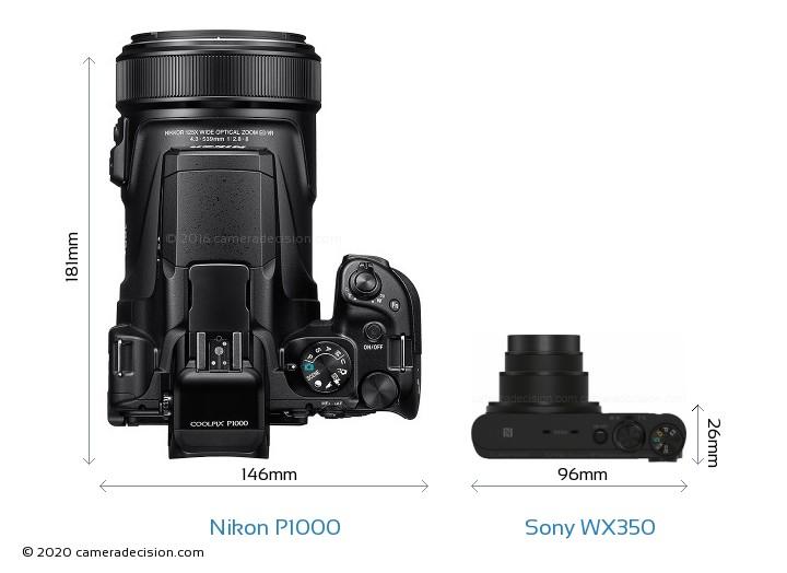 Nikon P1000 vs Sony WX350 Camera Size Comparison - Top View