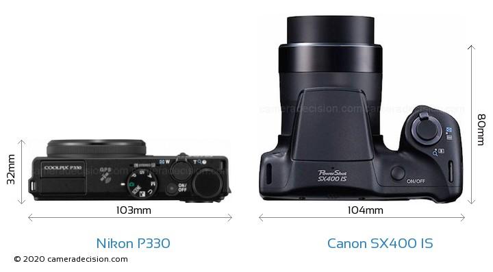 Nikon P330 vs Canon SX400 IS Camera Size Comparison - Top View