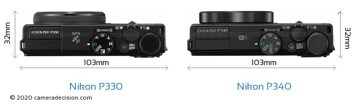 Nikon P330 vs Nikon P340 Camera Size Comparison - Top View